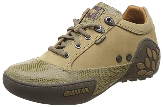 Woodland Men's Camel Leather Sneakers Men's Boots at amazon
