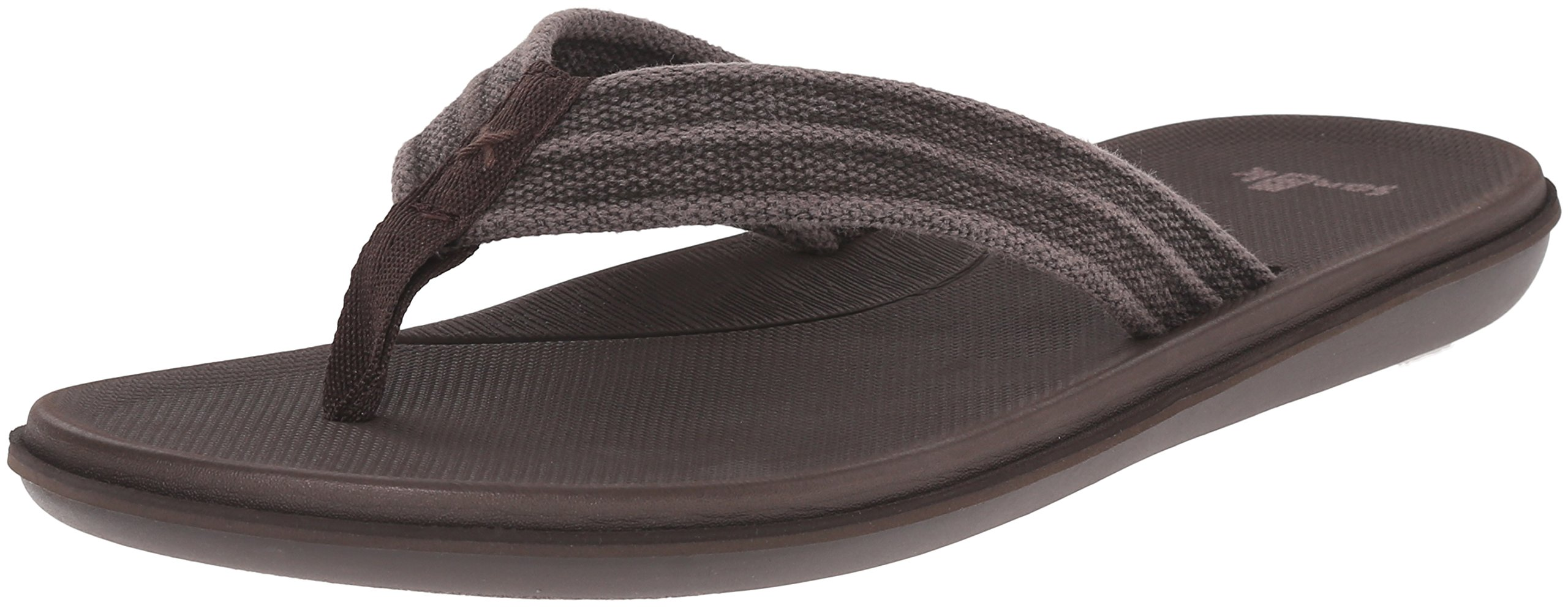 Sanuk Men's Planer Webbing Flip Flop, Brown, 13 M US