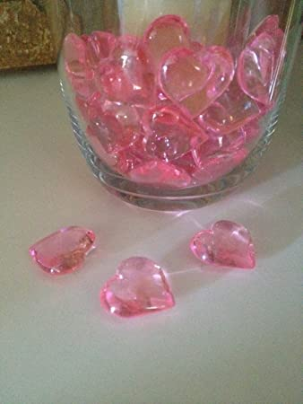 Amazon 48 Acrylic Pink Hearts 23mm For Wedding Decoration Table