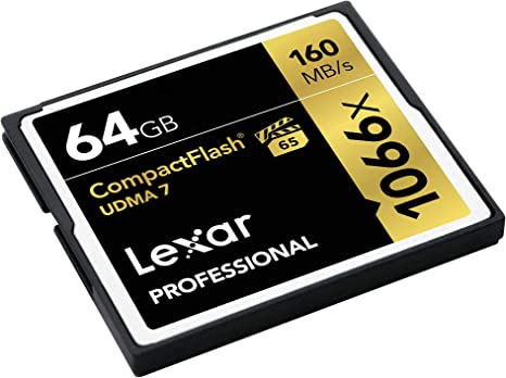 Lexar Professional 1066x 64GB VPG-65 CompactFlash card (Up to 160MB/s Read) LCF64GCRBNA1066