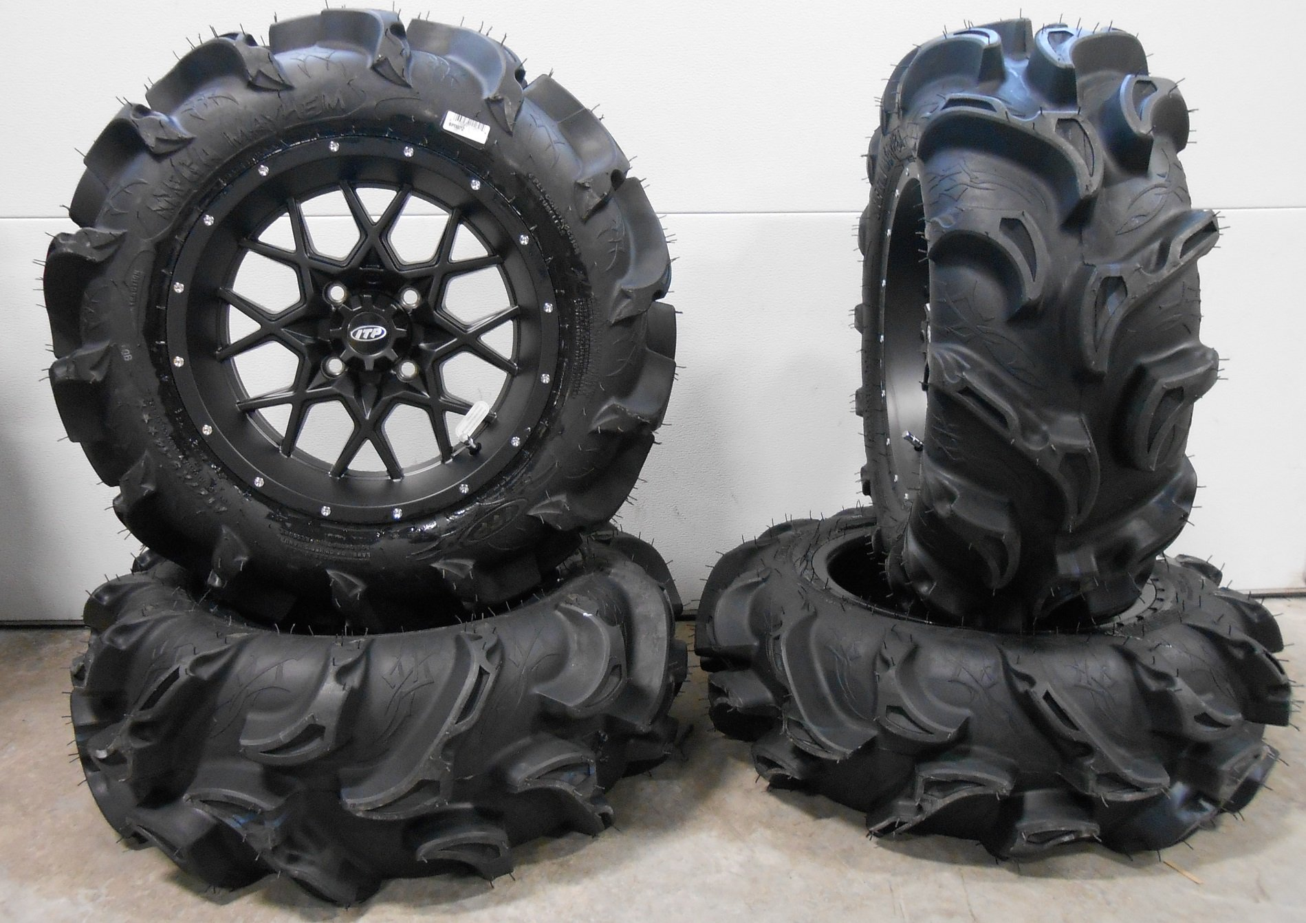 Bundle - 9 Items: ITP Hurricane 14'' Wheels Black 27'' Mega Mayhem Tires [4x110 Bolt Pattern 10mmx1.25 Lug Kit]