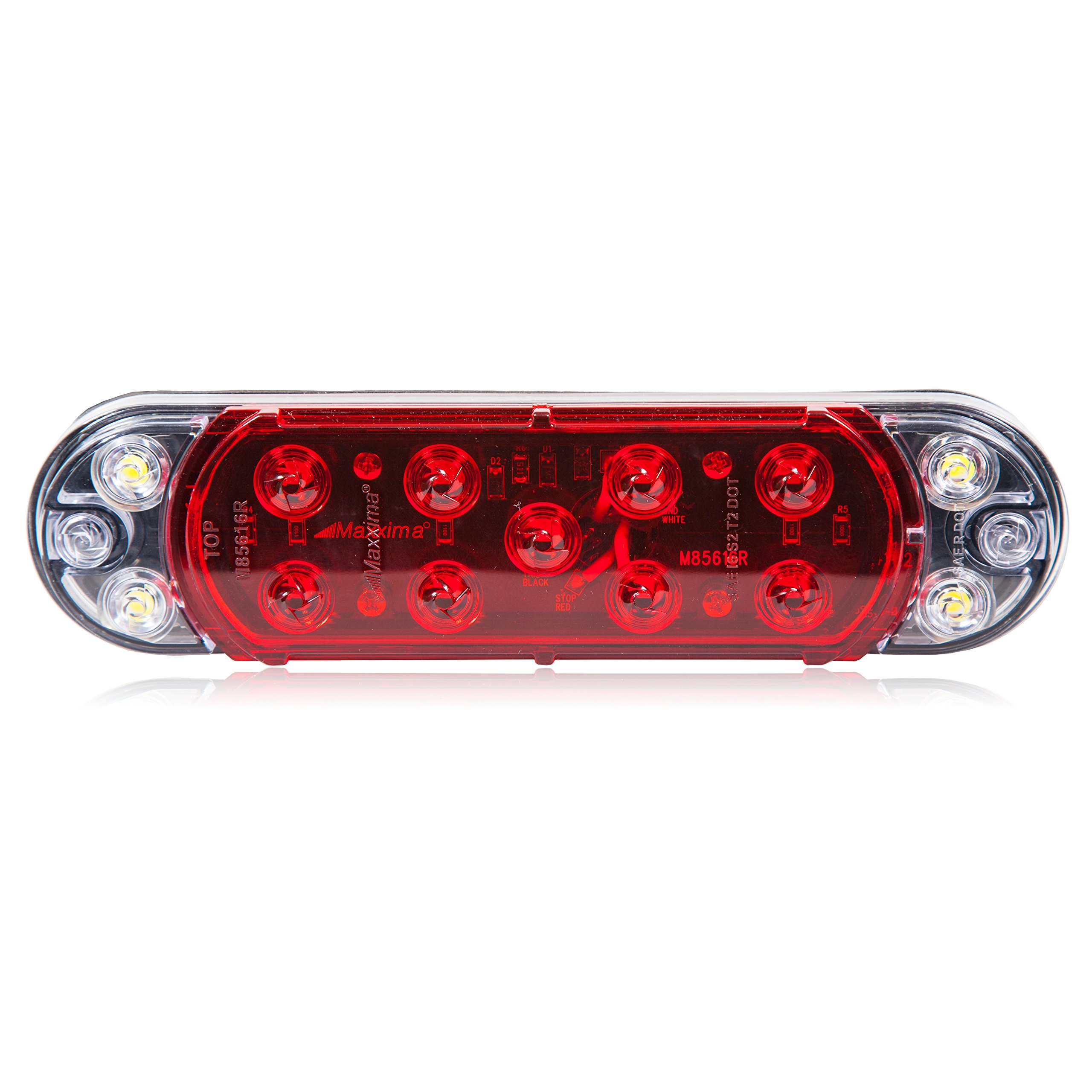 Maxxima M85616R Red/White Hybrid LightningS LED Oval Stop/Tail/Rear Turn and Back-Up LED Light