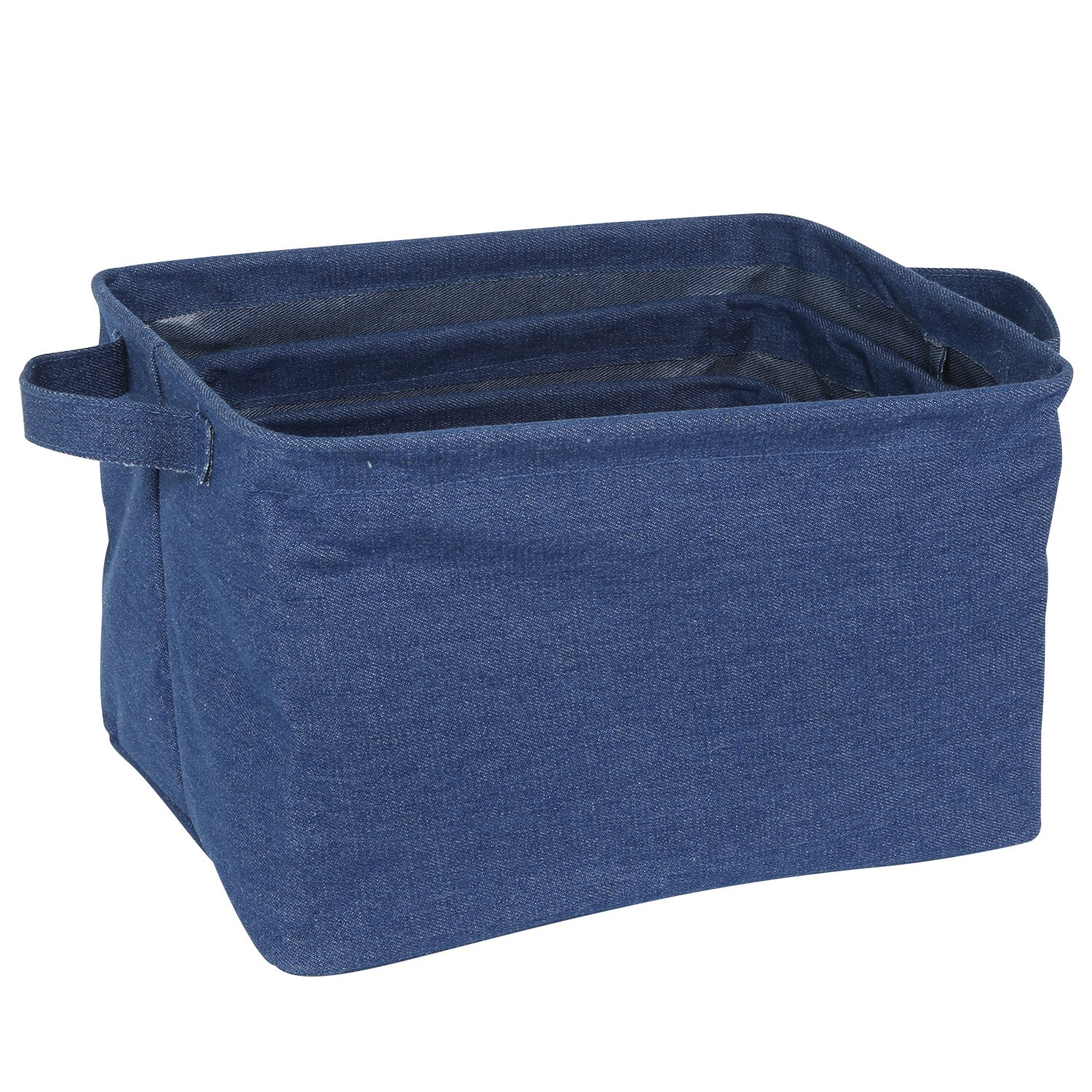 LTD StorageBin Arts CO Neoviva PU Coated Cotton Denim Waterproof and Foldable Open Storage Bin with Handles HangZhou Solid Indigo Blue XinDaSheng Set of 3