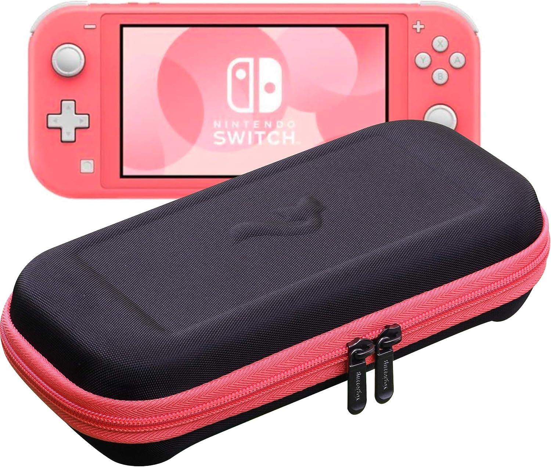 ButterFox - Funda de transporte para Nintendo Switch Lite,19 juegos y 2 soportes para tarjetas Micro SD, almacenamiento para accesorios Switch Lite (coral rosa/negro): Amazon.es: Electrónica