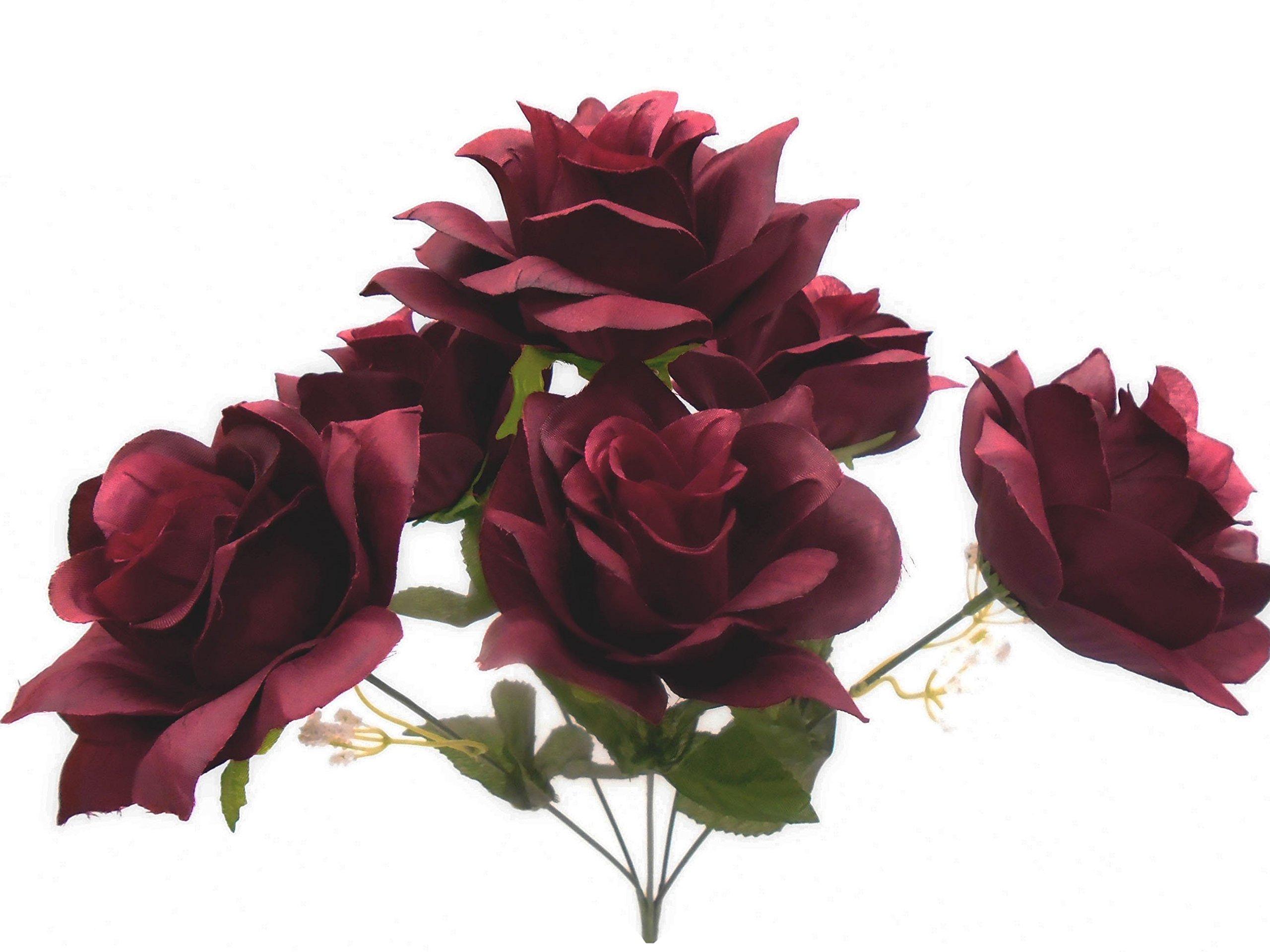 2-Bushes-Open-Rose-Artificial-Silk-Flowers-Bouquet-6-7203-Burgundy