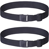 Women Invisible Elastic Adjustable Belt - 2Pcs Girls & Women No Show Stretch Belt Plastic Flat Square Buckle