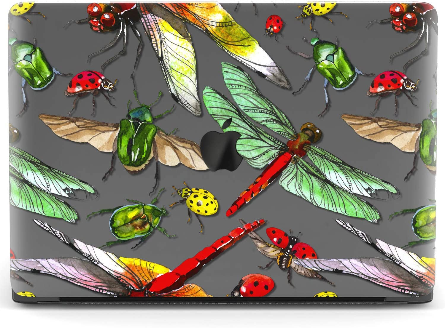 Mertak Hard Case for Apple MacBook Pro 16 Air 13 inch Mac 15 Retina 12 11 2020 2019 2018 2017 Shell Plastic Design Cover Insect Print Cute Botanical Laptop Clear Beetle Pattern Dragonfly Protective