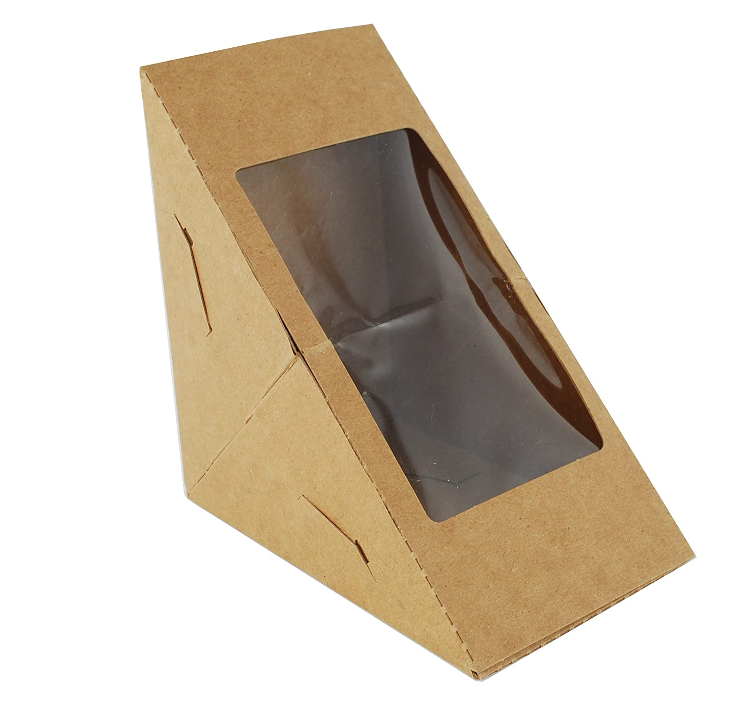 Southern Champion Tray 24103 Poly Coated Inside with Uncoated Recycled Paperboard Window Sandwich Wedge, 6-13/16