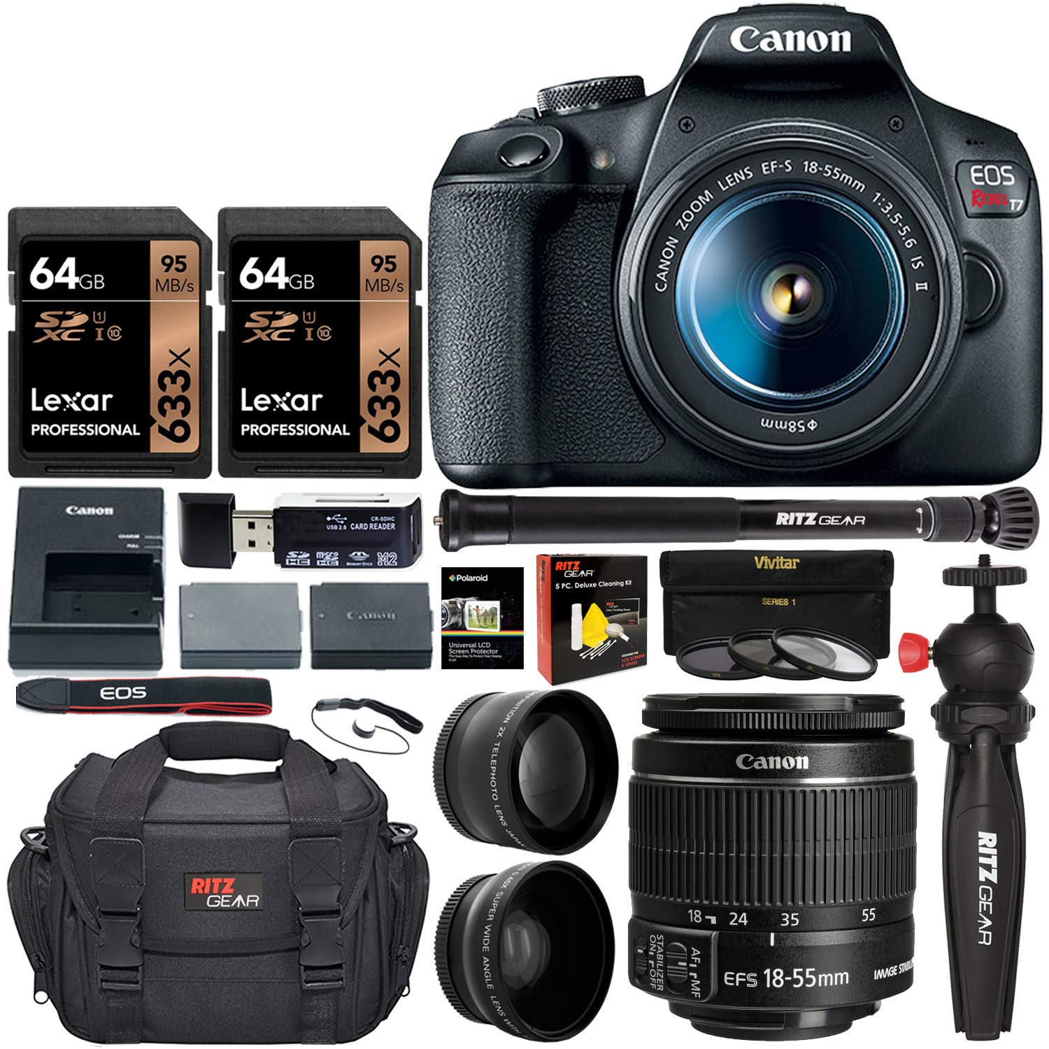 canon-eos-rebel-t7-dslr-camera-travel-bundle-with-58mm-2x-professional-telephoto-58mm-wide-angle-lenses-lexar-128gb-compact-monopod-table-tripod-filter-kit-uvcpl-nd8-camera-bag