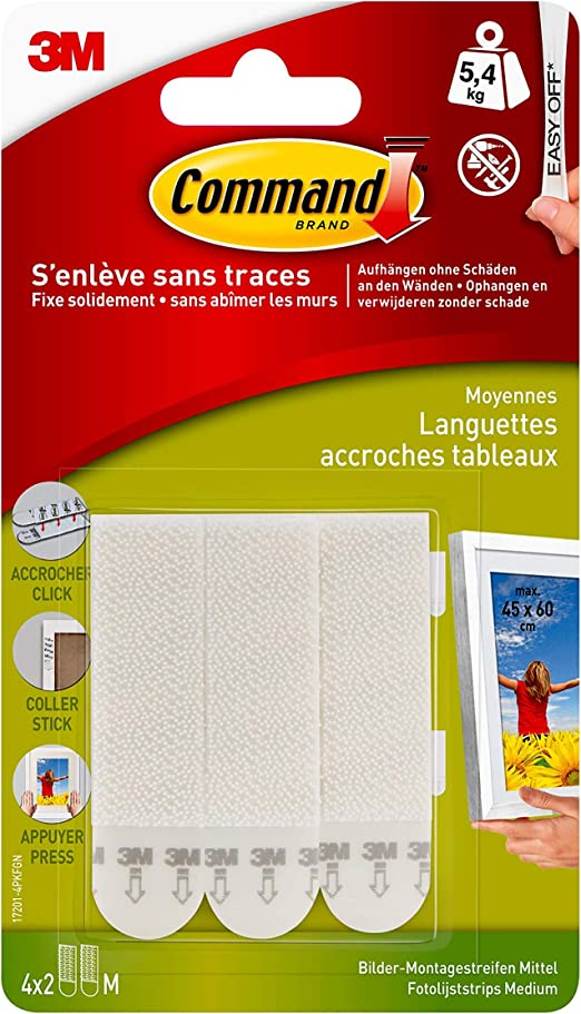 3 m Command Photo Wall Hanging bandes Medium 2 Paires = simple 4x bandes blanches