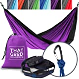 THAT GOOD HAMMOCK Double Camping Hammock w/ Hammock Straps & Wiregate Carabiners. Portable Nylon Parachute Hammock for Backpacking Camping & Travel