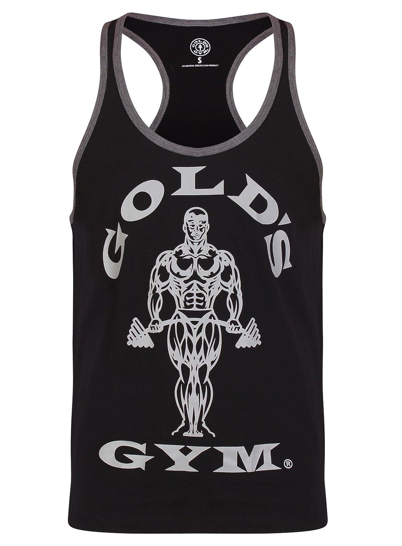 Gold's Gym 2018 Muscle Joe Contrast Stringer Vest Mens Fitness Training Gym Y-Back Tank Top Gold' s Gym GGVST004