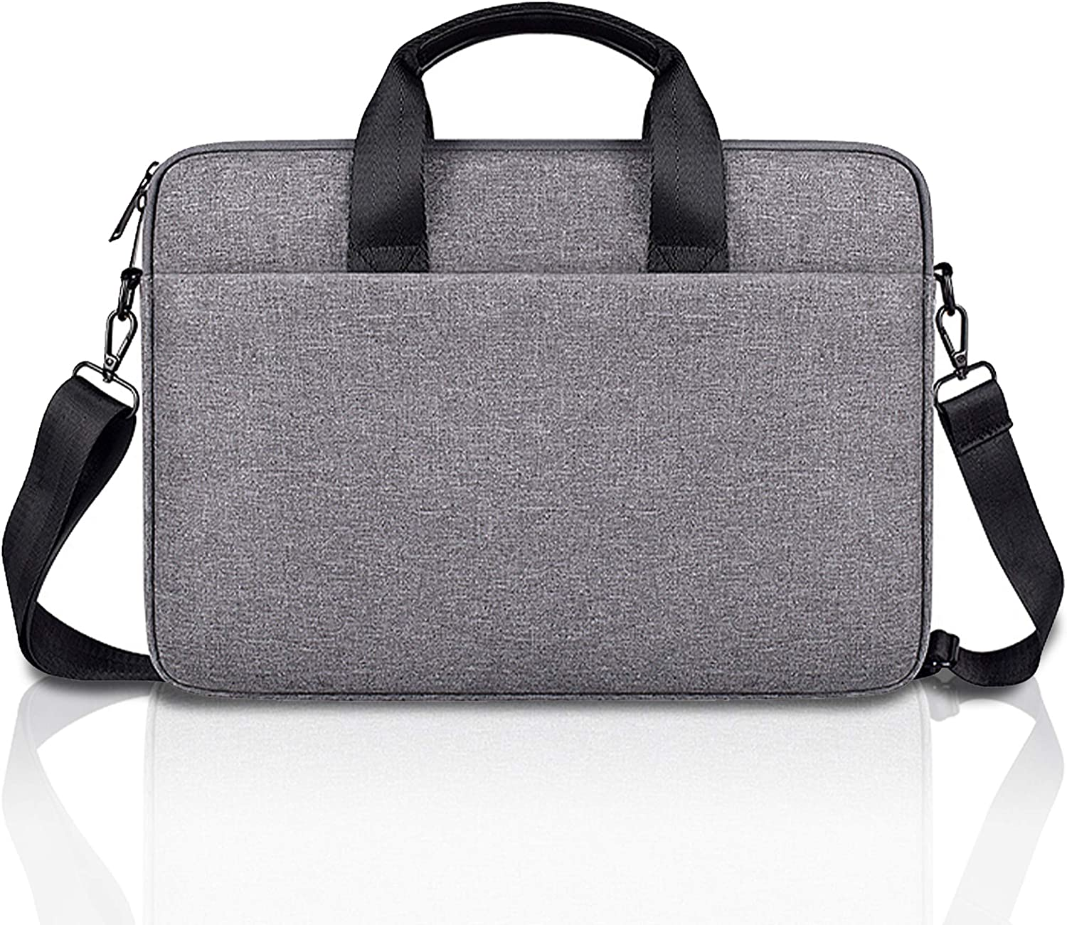 "E.YOMOQGG Laptop Case Laptop Shoulder Bag, Laptop Sleeve Case with Shoulder Strap, Notebook Briefcase 13 14 15"" Black/Grey"
