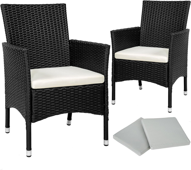TecTake 2 x Ratán sintético silla de jardín set con cojines + 2 Set de fundas intercambiables + tornillos de acero inoxidable - disponible en diferentes colores - (Negro | No. 402122)