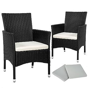 TecTake 2x Chaise de jardin en poly rotin résine tressé + coussin + ...