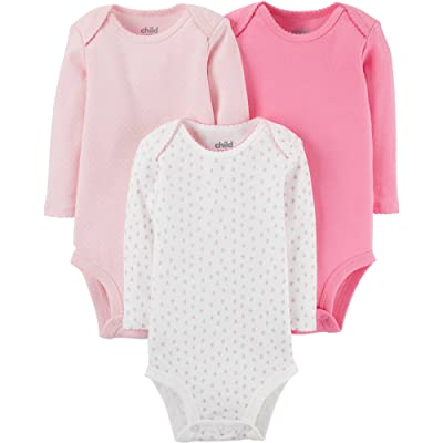 Child Of Mine By Carter's Baby Girl Long Sleeve Bodysuits in Pink (Newborn)