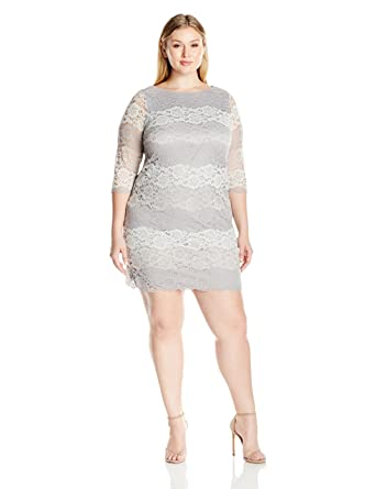 f67ae25ad2de1 Amazon.com: Jessica Howard Women's Plus Size 3/4 Sleeve Lace Shift Dress:  Clothing
