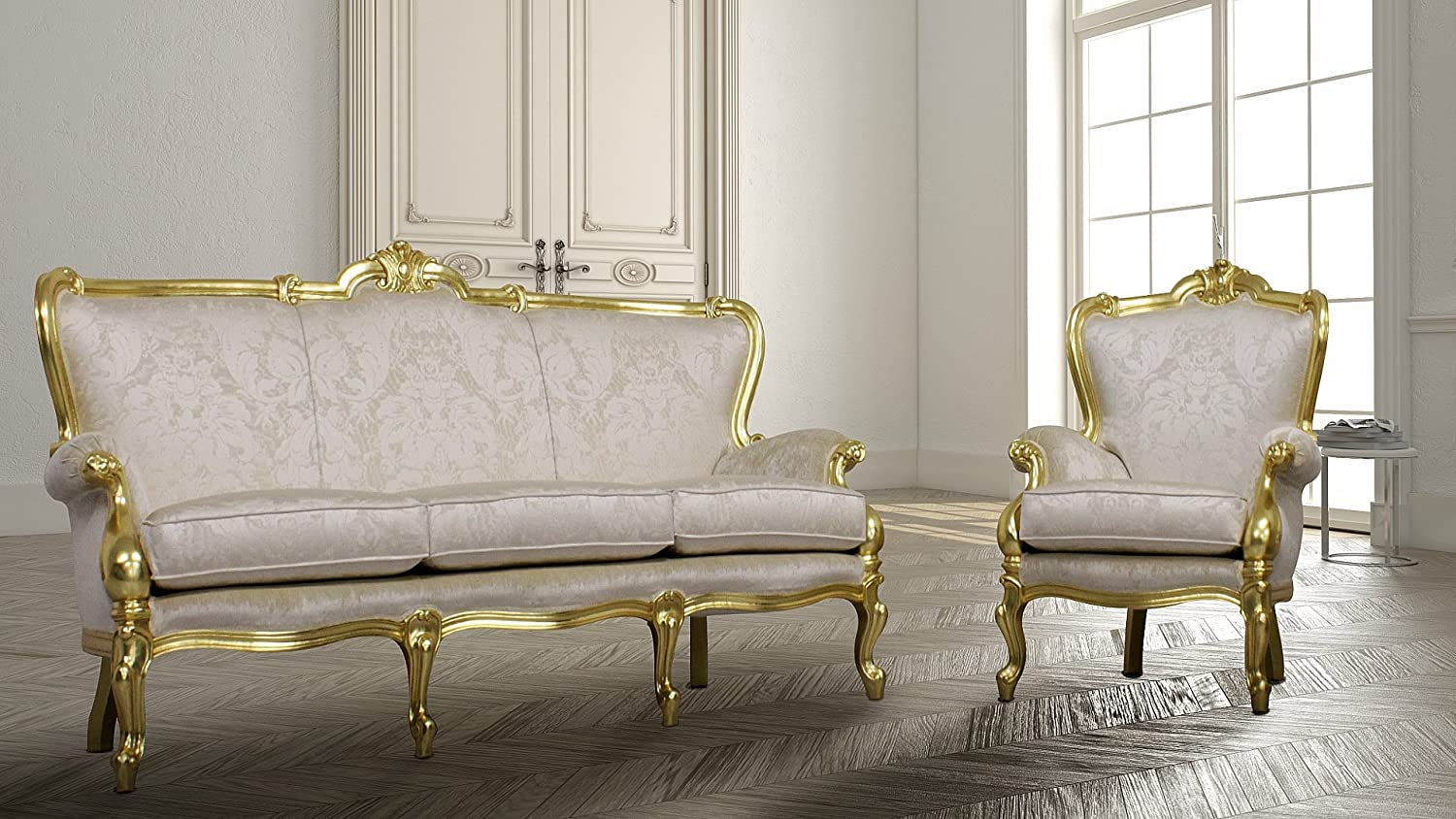 Woodkartindia Luxury Classic Light Baroque Style Wooden Sofa ...
