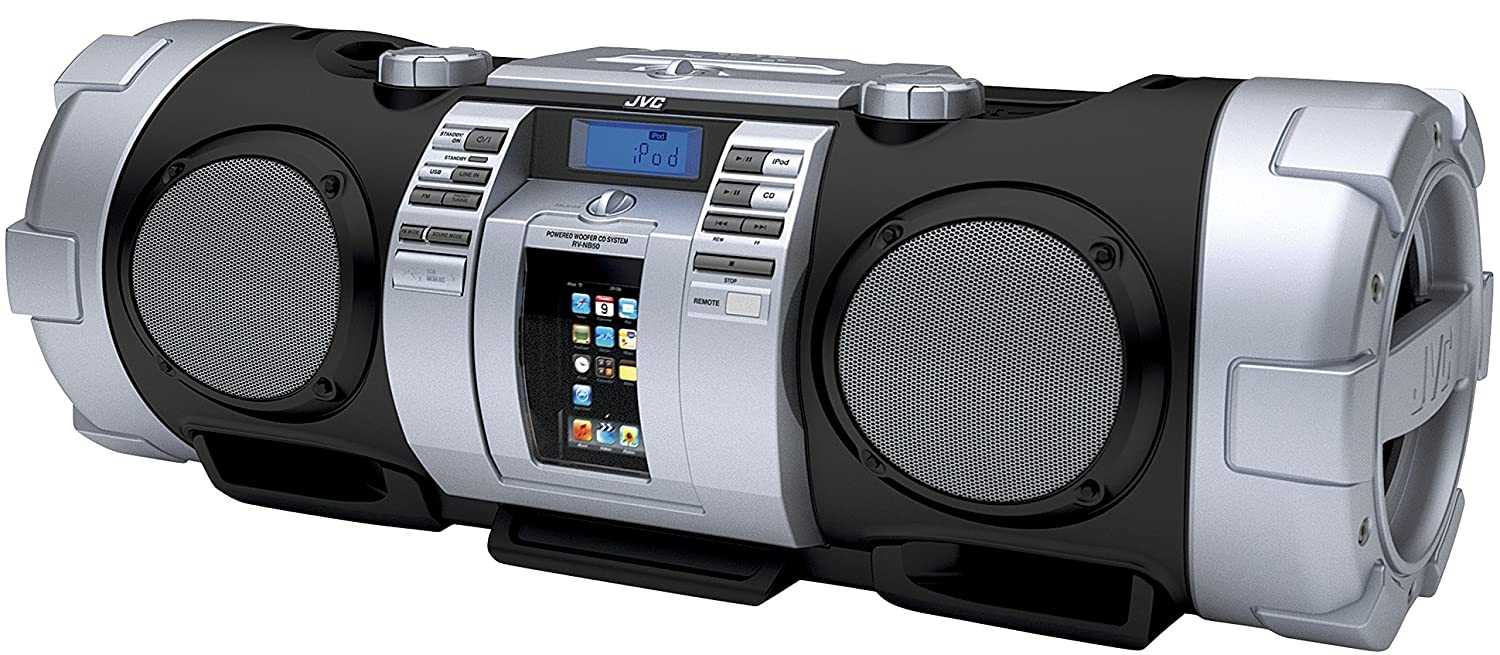 JVC RV-NB50B Boomblaster Kaboom Twin Powered Super Woofer Speaker System  with CD/MP3/WMA/USB Compatibility and iPod/iPhone Dock - Grey/Silver:  Amazon.co.uk: ...