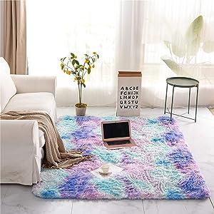 Holawakaka Shaggy Fluffy Faux Fur Area Rug for Bedroom Sofa Living Room Home Decor Multi-Color Rectangle Tie Dye Floor Mat Ultra-Soft Plush Fuzzy Rugs Carpet (2x3 feet, Blue Purple)
