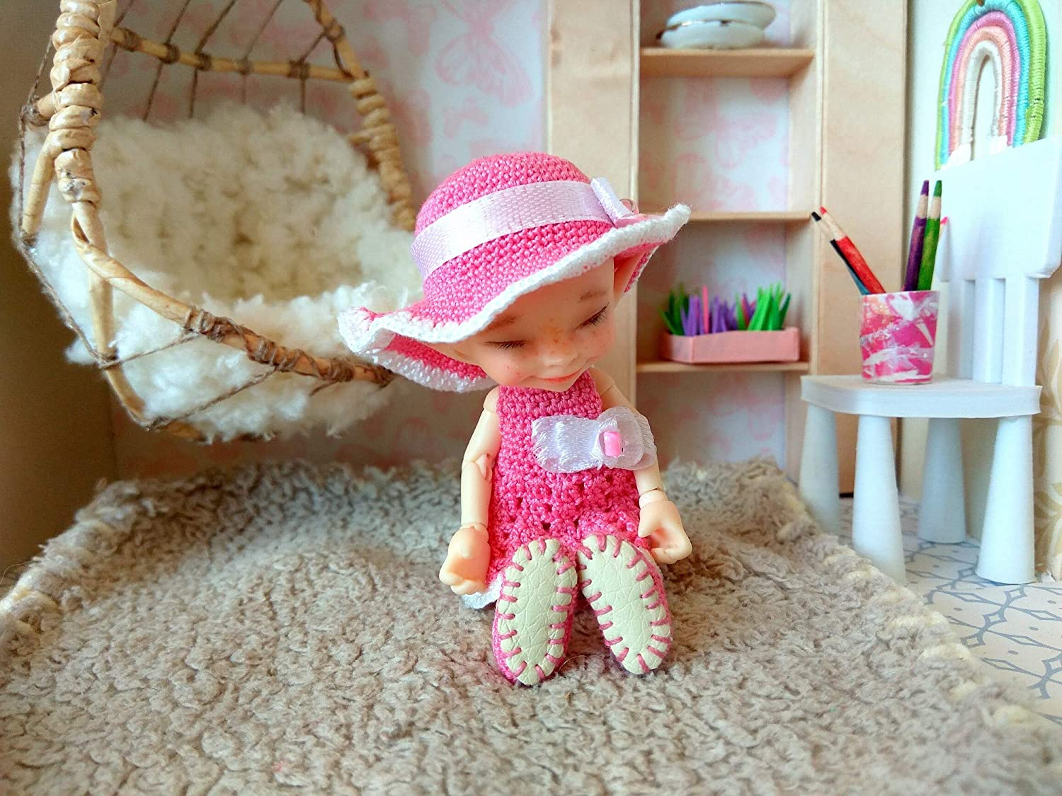 Outfit set for 1:12 BJD doll. Realpuki Dress With Hat and Sandals NO DOLL