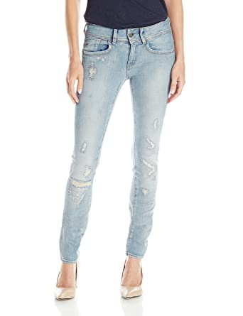 5f51325f Amazon.com: G-Star Raw Women's Lynn Mid Rise Skinny Fit Jean in Notto  Stretch Denim Light Aged Restored 85: Clothing
