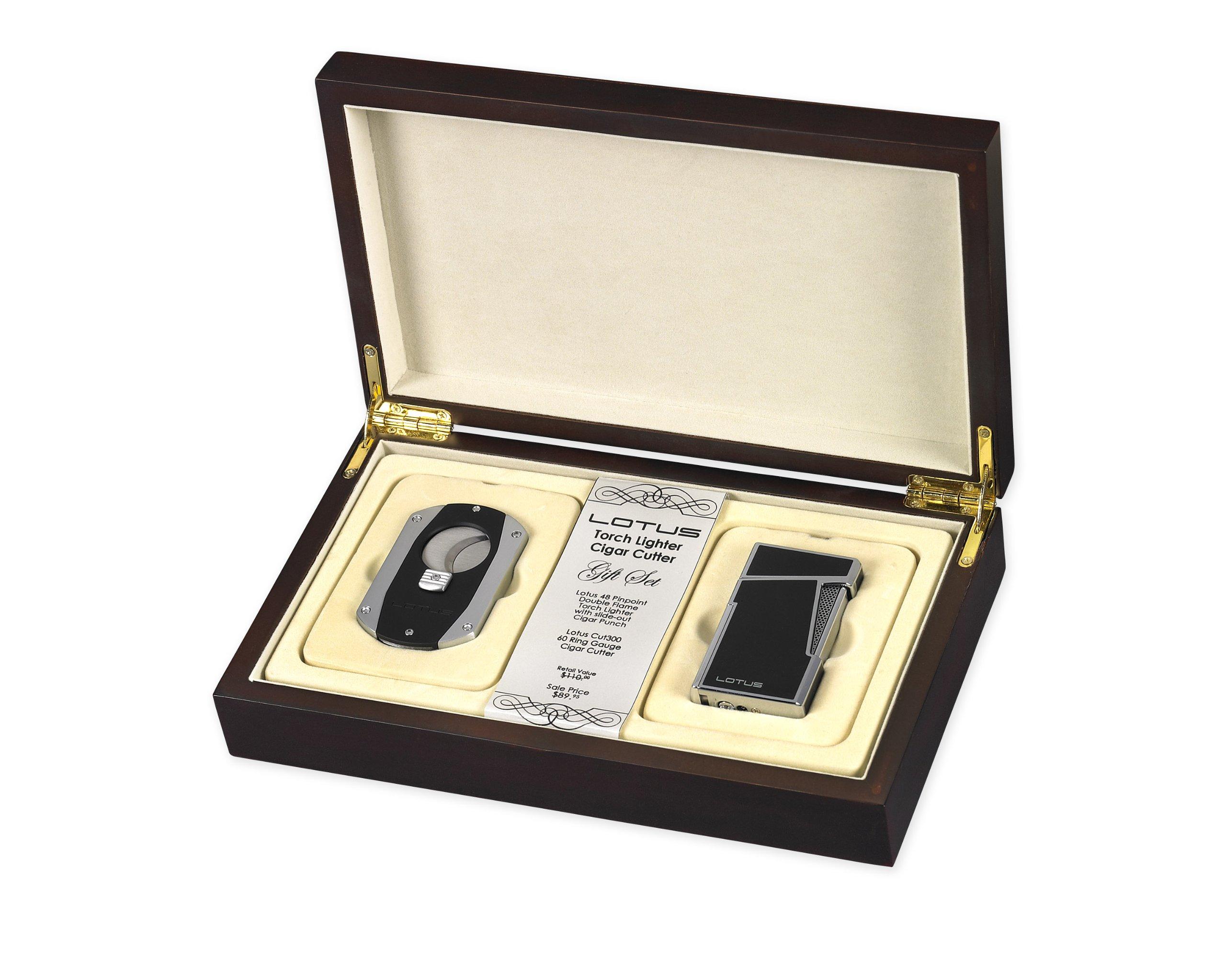 Lotus Cigar Cut 300 & Apollo 48 Lighter Gift Set (Black Lacquer)