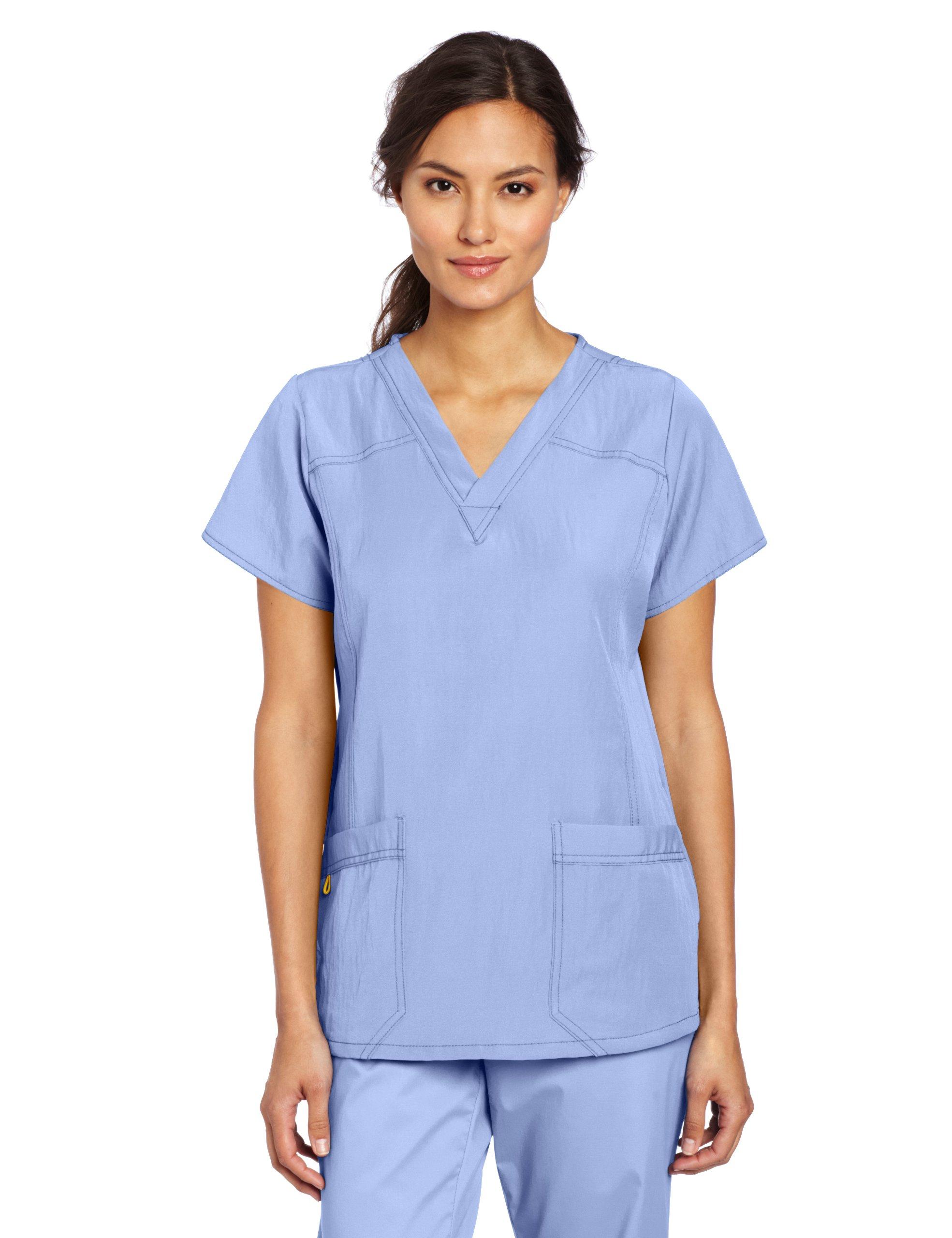 WonderWink Women's Scrubs Four Way Stretch Sporty V-Neck Top, Ceil Blue, Small