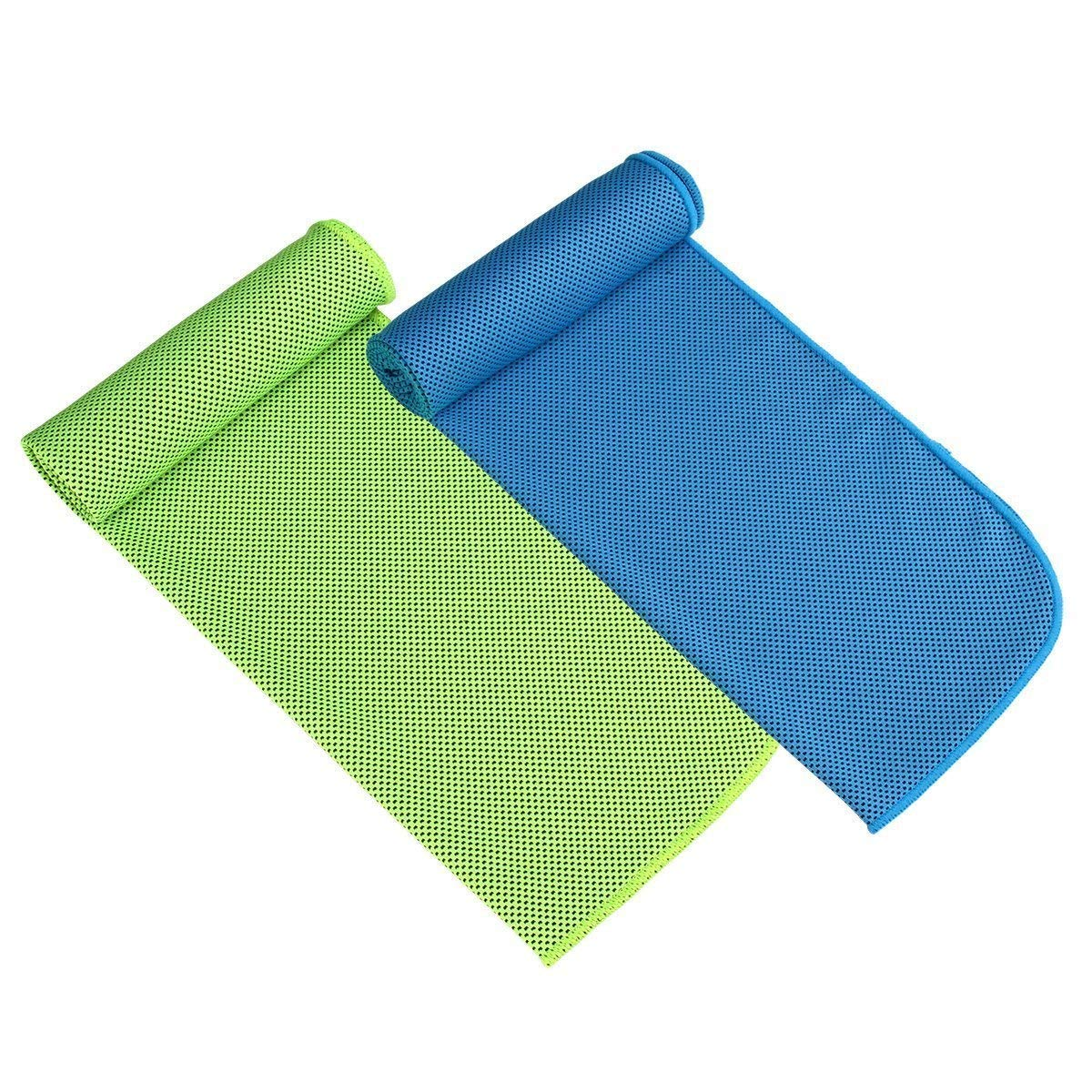 Set da 2 Premium set asciugamano di raffreddamento , Asciugamano in microfibra per sport, allenamento, fitness, palestra, yoga, Pilates, viaggi, campeggio e altro (blu & verde) innotree SF01