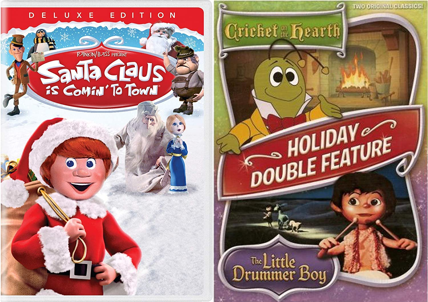 Rankin/Bass Holiday Classics - Santa Claus is Coming to Town Deluxe Edition  & Cricket on the Hearth and Little Drummer Boy Double Feature DVD Bundle:  Amazon.co.uk: DVD & Blu-ray