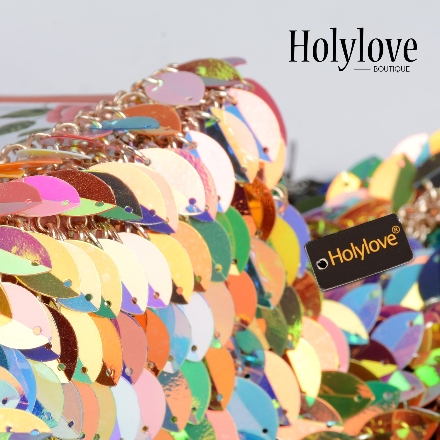 Holylove Paillette Sequin Bra Tops Body Chain Necklace Jewelry Colorful Sexy Charm for Women Lady Summer Beach Hawaiian Style Bikini Beachwear - HLBN5 Colorful by Holylove (Image #4)