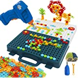 Flyingseeds Drill Toy Construction Engineering Building Blocks Puzzle Set with Creative Mosaic Screw Peg Board, STEM…