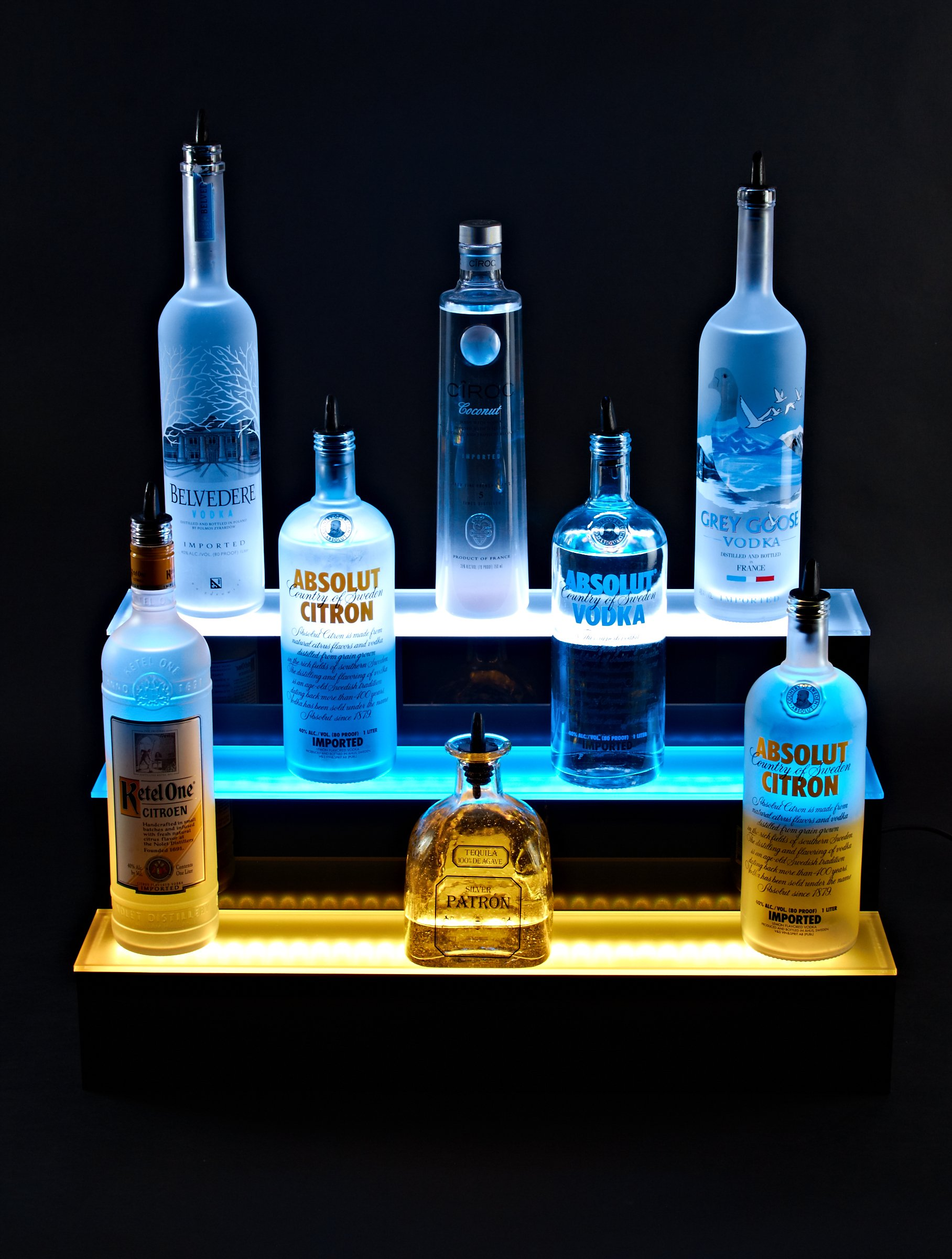 24'' inch 3 Tier Lighted Liquor Shelves Bottle Display LED |Home bar Lights by Armana Productions (Image #6)