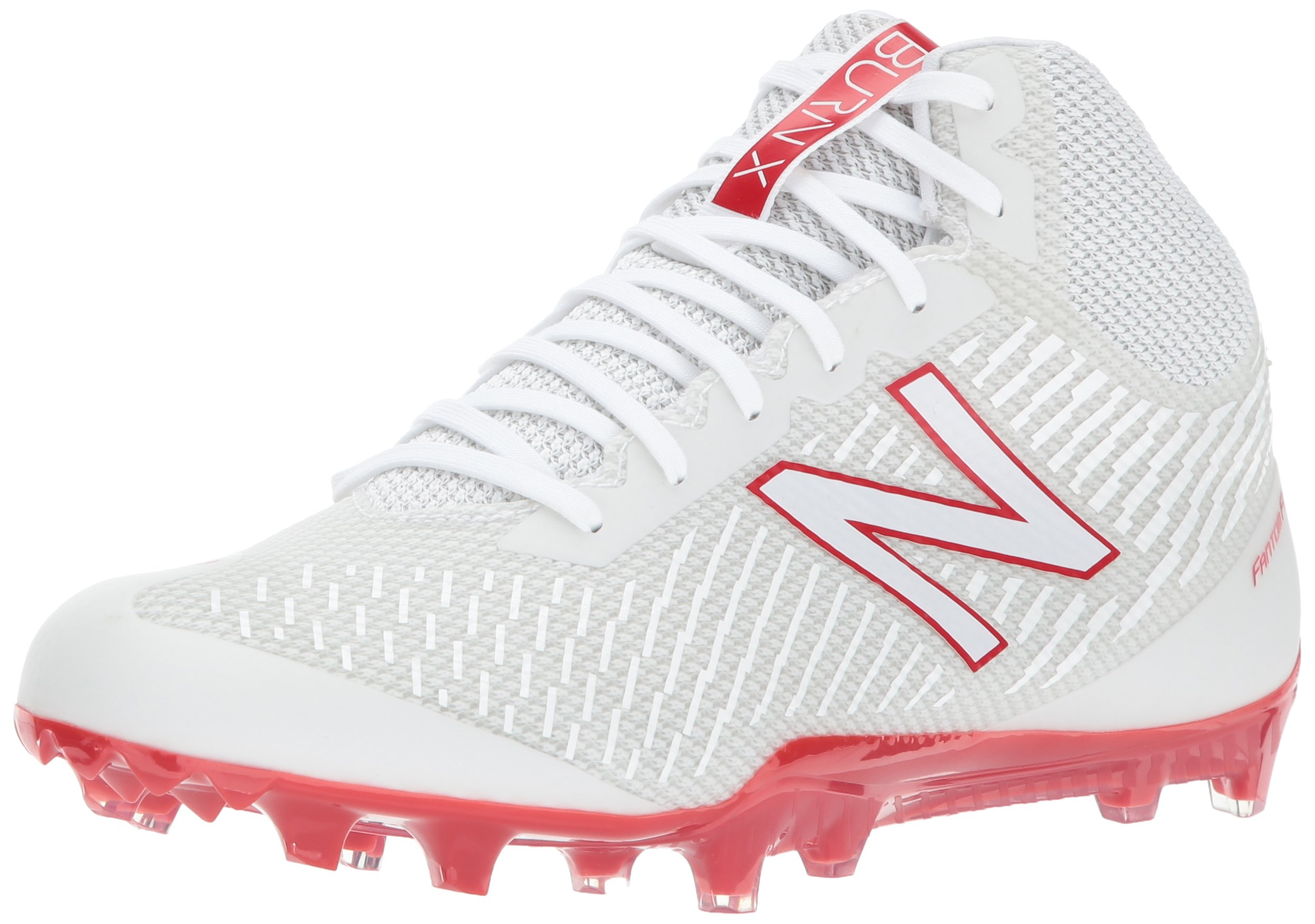 New Balance Men's BURN Mid Speed Lacrosse Shoe, White/Red, 12 2E US by New Balance