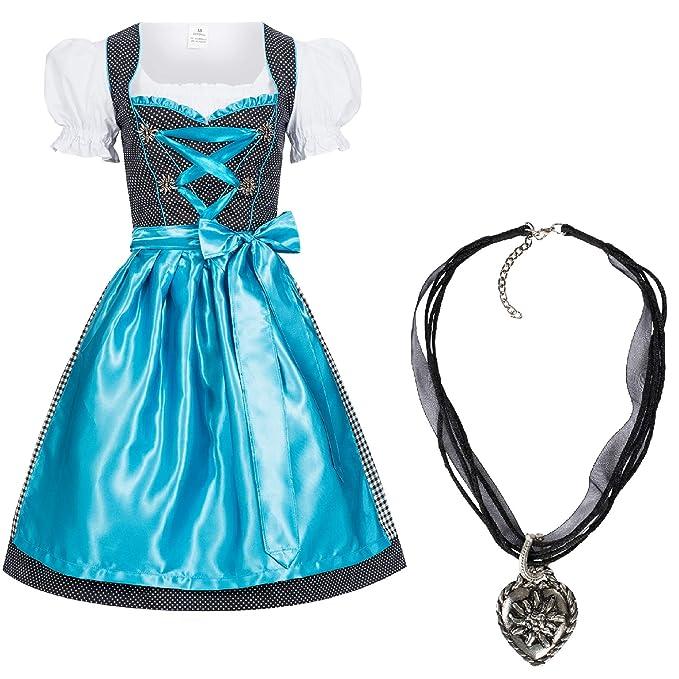 gratis Halskette schwarz mit hellblau Set Dirndl 4 tlg leuchtende Farbe