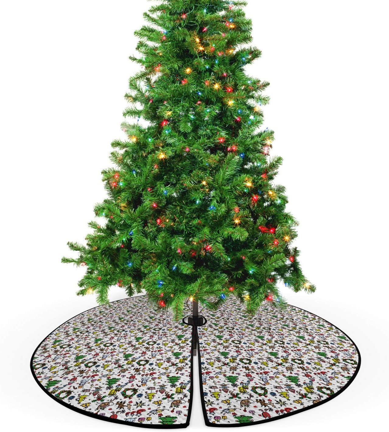 Amazon Com Ambesonne Nursery Christmas Tree Skirt Christmas Concepts Drawn In Cartoon Style Santa Snowman Children Presents Mistletoe Decorative Quilted Mat Seasonal Holiday Decoration 53 5 Multicolor Home Kitchen Find images of cartoon tree. ambesonne nursery christmas tree skirt
