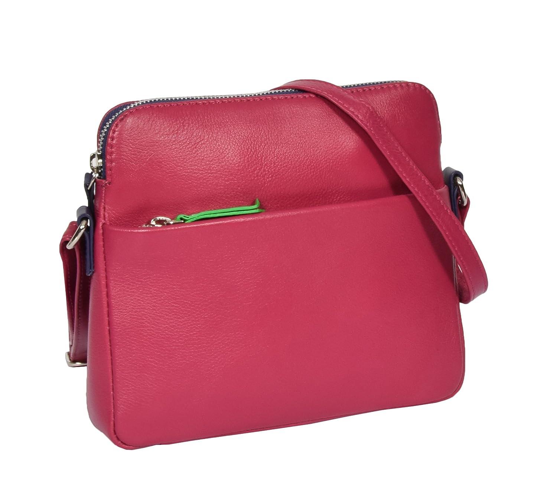 Ladies Soft Leather Small Cross Body Shoulder Organiser Travel Sling Bag Ellie Pink