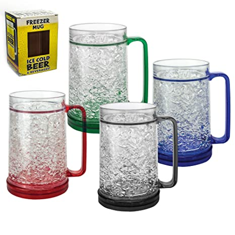 amazon com mug freezer 4 pack ice cold beer beverages 16 oz