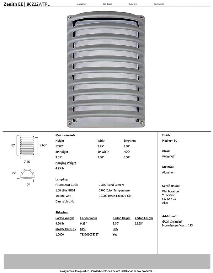 Maxim Lighting 86222wtpl Zenith Energy Saving Outdoor Sconce Wall