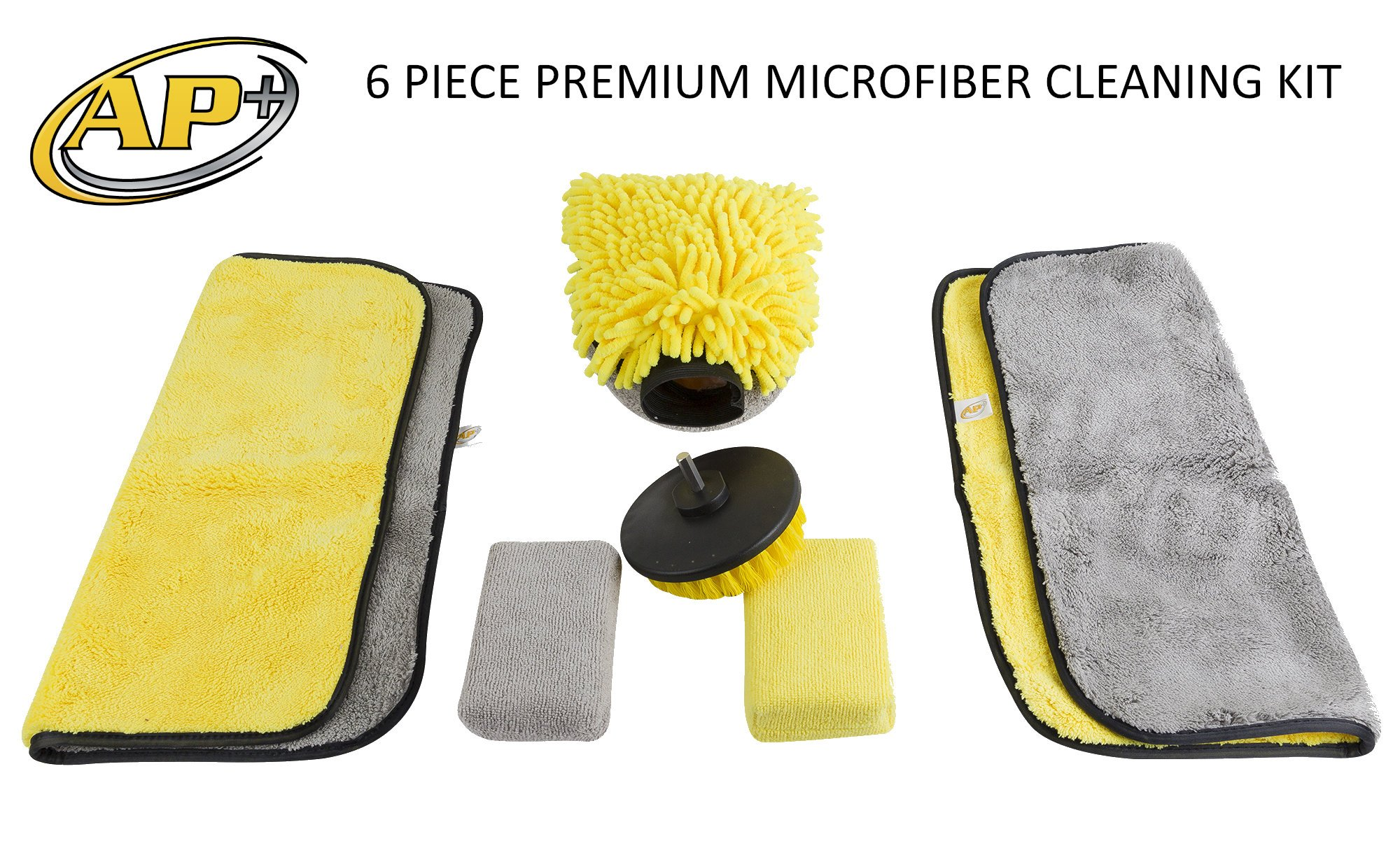 Microfiber Cleaning Kit Cloths Towels Rags Sponges Wash Mitt & Carpet Brush 6-Piece Kit for Cars, Homes, Kitchens, Furniture, Floors, Trucks, Motorcycles, Dusting, Boats, Garages, Rugs, Upholstery
