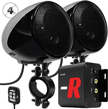 Black AUX Handlebar Mount Music Player Audio Amp System Harley Touring Cruiser ATV UTV RZR FM Radio GoHawk TN4 Amplifier 4 Full Range Waterproof Bluetooth Motorcycle Stereo Speakers 1 to 1.5 in