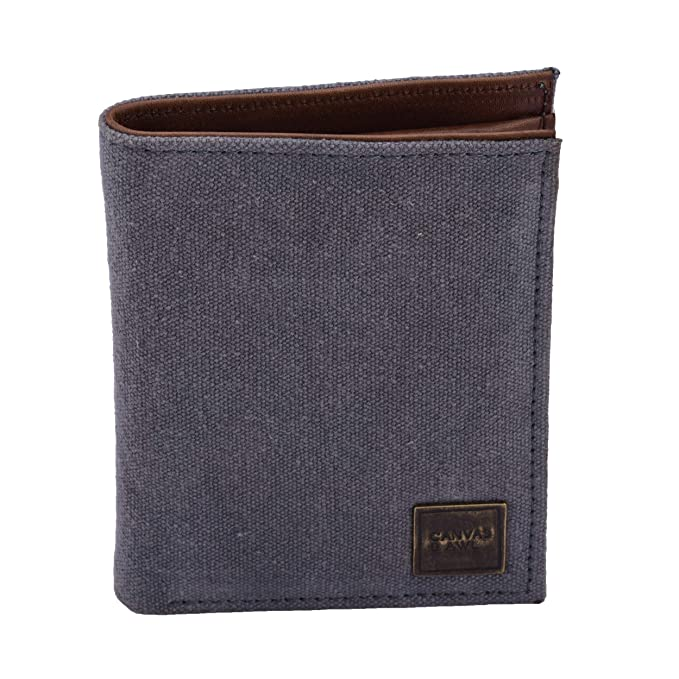 6edd3413632d CANVAS & AWL Men's Canvas Wallet Notecase with Genuine Leather Trim 10 Card  Slot RFID Wallet