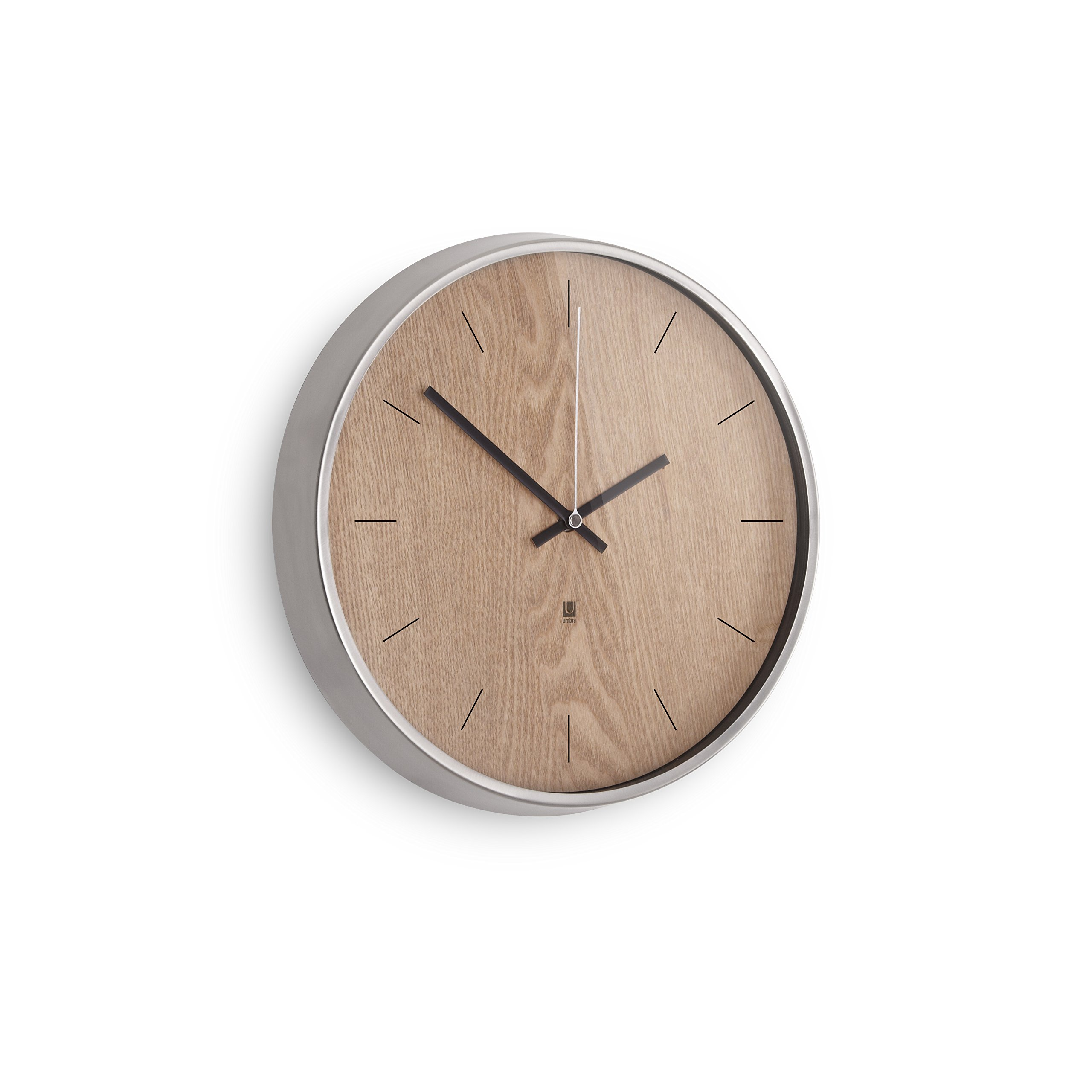 Umbra Madera Wall Clock, Natural/Nickel