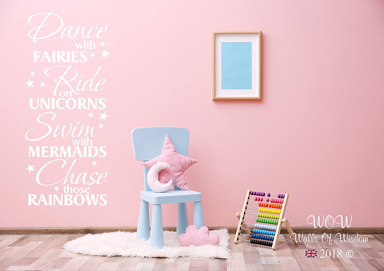 Dance With Fairies, Ride Unicorns, Swim with Mermaids, Chase Rainbows Wall Sticker Wall Art Decal Childrens, Girls Bedroom, Easy to Apply, Free Applicator (90x54cm, Silver) Walls of Wisdom