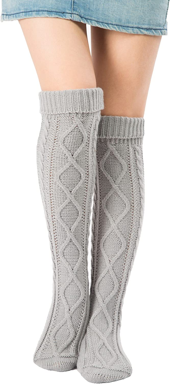Leotruny Womens Diamond Knit Knee Winter Leg Warmers High Boot Socks