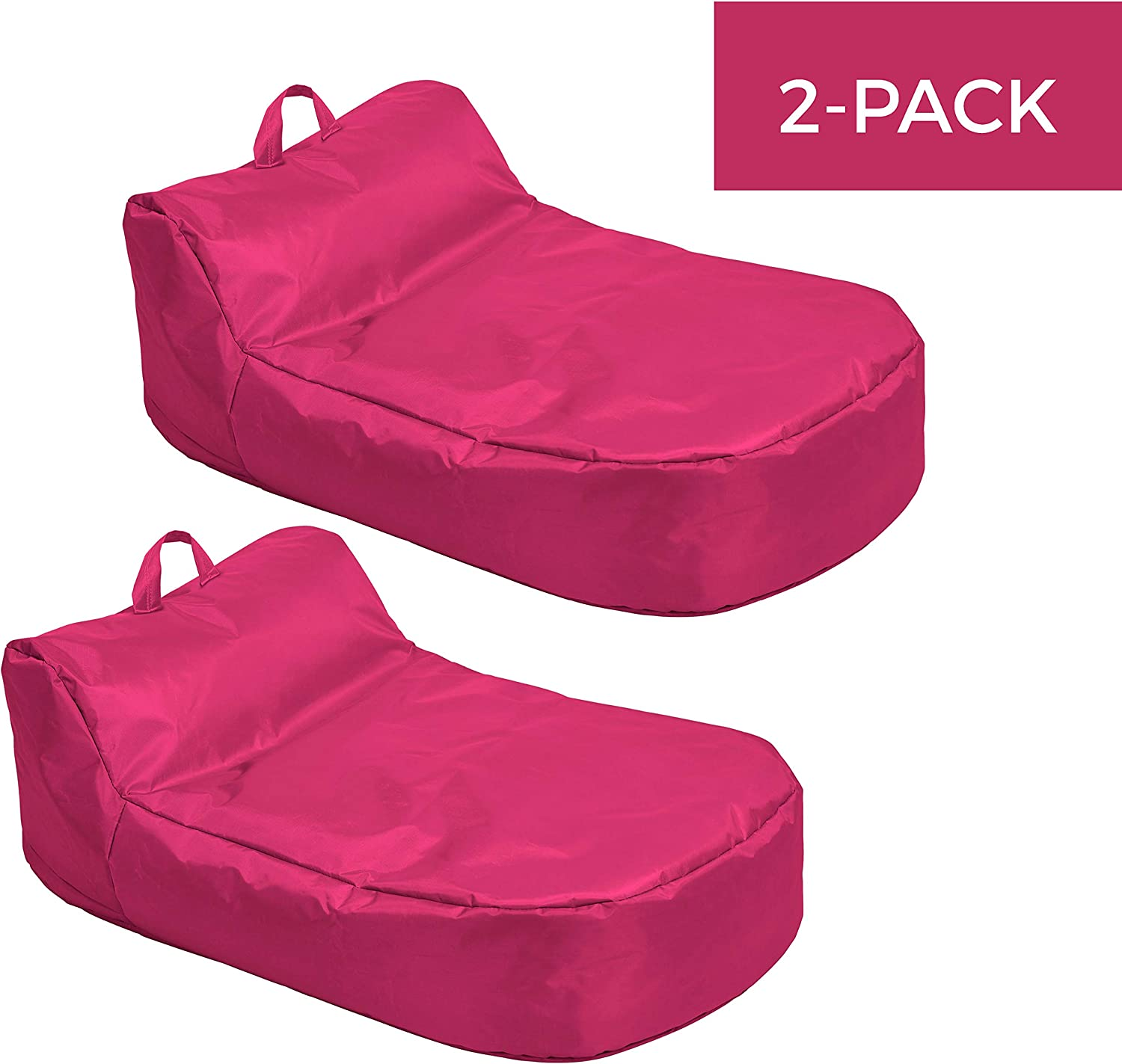 Cali Siesta Sack Bean Bag Chair, Dirt-Resistant Coated Oxford Fabric, Flexible Seating for Kids, Teens, Adults, Furniture for Bedrooms, Dorm Rooms, Classrooms - Raspberry (2-Pack) (10485-RS)