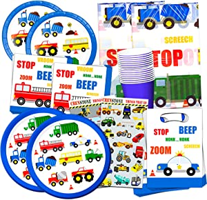 Cars and Trucks Party Supplies Ultimate Set -- Birthday Party Decorations, Party Favors, Plates, Cups, Napkins and More (Things That Go Party Supplies) (16 Guests)