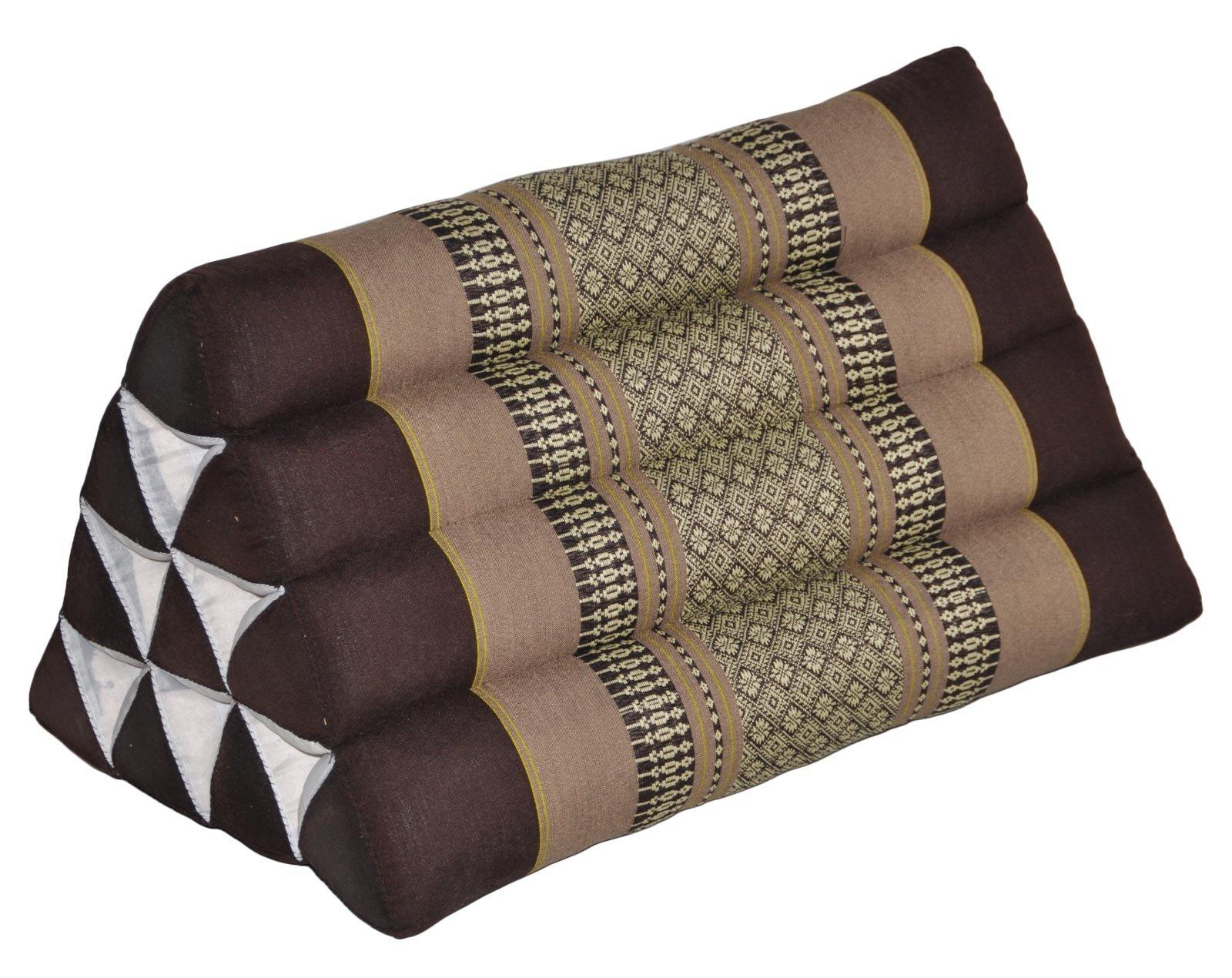 Thai triangular cushion, brown, relaxation, beach, kapok, made in Thailand. (82400) by Wilai GmbH