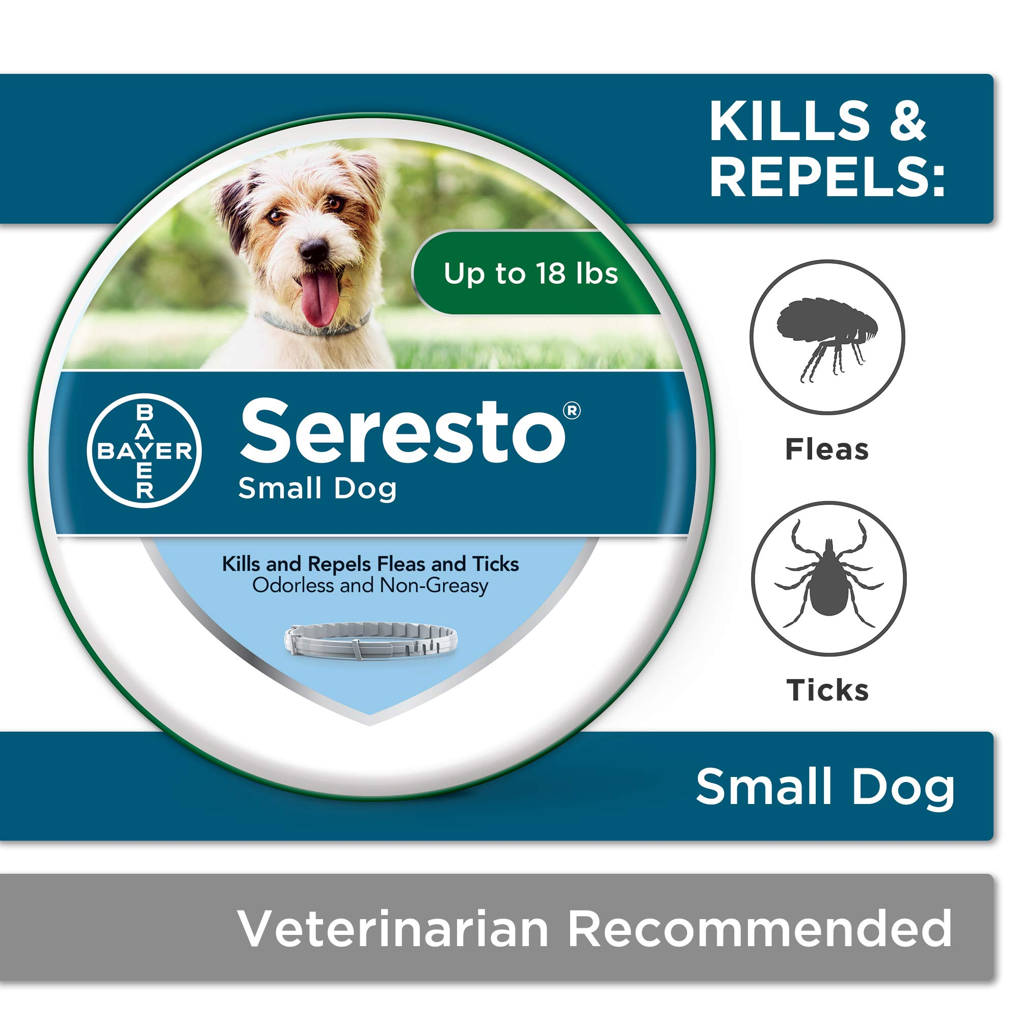 Seresto flea collar for dogs, 8-month flea and tick prevention for dogs up to 18 lbs by Bayer Animal Health