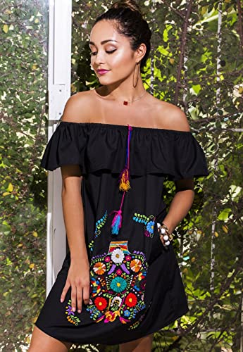 377e097ca3ff4 Amazon.com  Women Floral Embroidered Off Shoulder Mini Short Dress in Black   Handmade